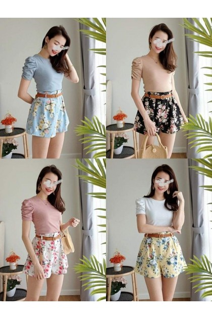 2327 Versatile casual high waist flower pants 百搭休闲高腰花裤