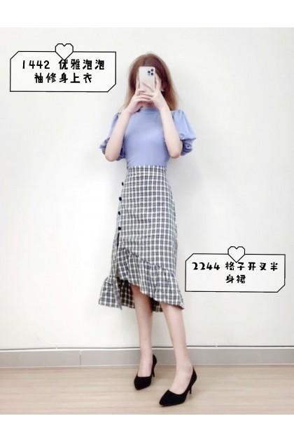 1442 Solid color elegant bubble sleeve slim top 纯色优雅泡泡袖修身上衣