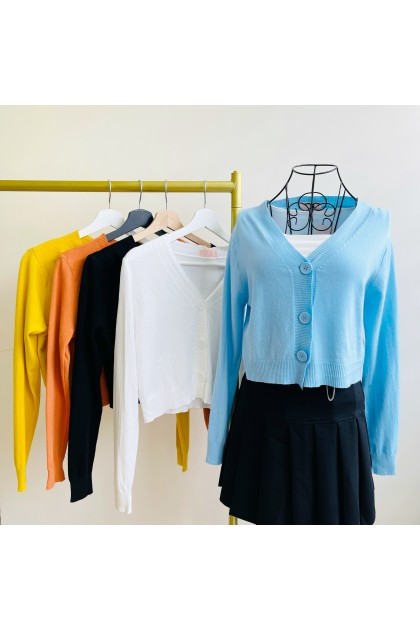 1444 Korean style V-neck knitted cardigan 韩风V领针织开衫
