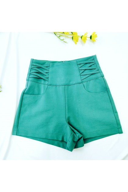 2330 Cotton waistband design high waist shorts 棉质腰带设计感高腰裤