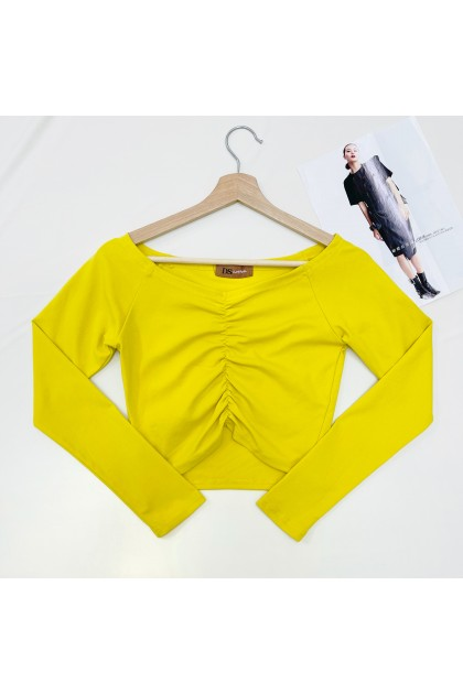 1448 Long-sleeved cotton stretch top with wide shoulders 阔肩长袖棉质弹力上衣