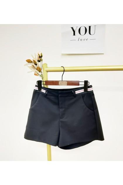 2332 Black and white striped waist design high waist shorts 黑白条纹腰部设计高腰短裤
