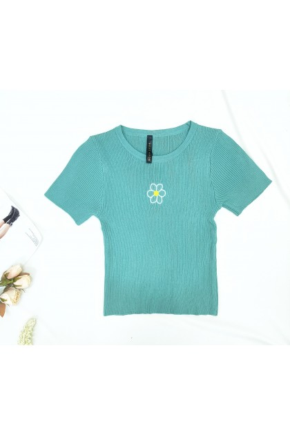 1451 Small flower knitted round neck slim fit top 小花针织圆领修身上衣